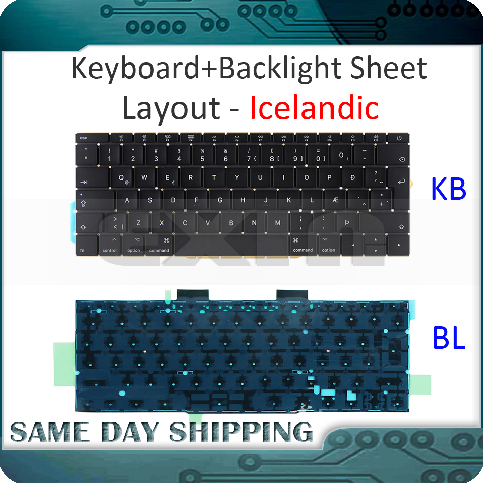 NEW Laptop for Macbook Pro Retina 13 A1708 Keyboard Icelandic Iceland with Backlight Backlit Late 2016 Mid 2017 YearNEW Laptop for Macbook Pro Retina 13 A1708 Keyboard Icelandic Iceland with Backlight Backlit Late 2016 Mid 2017 Year