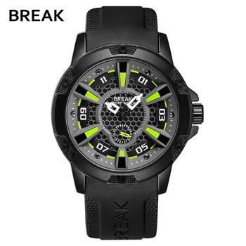 a51432b76526 Break Top marca de lujo para hombre relojes Militar caucho deporte reloj  hombre correa de caucho reloj hombres reloj de cuarzo Relogio Masculino