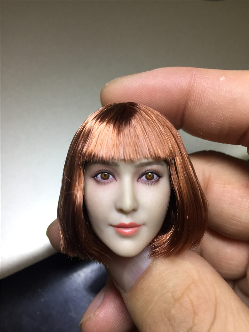 купить 1/6 Soldiers Head Carving Fan Bingbing Asian Beauty  High Quality Head Carving Short Hair Beauty Head Carving Fit 12