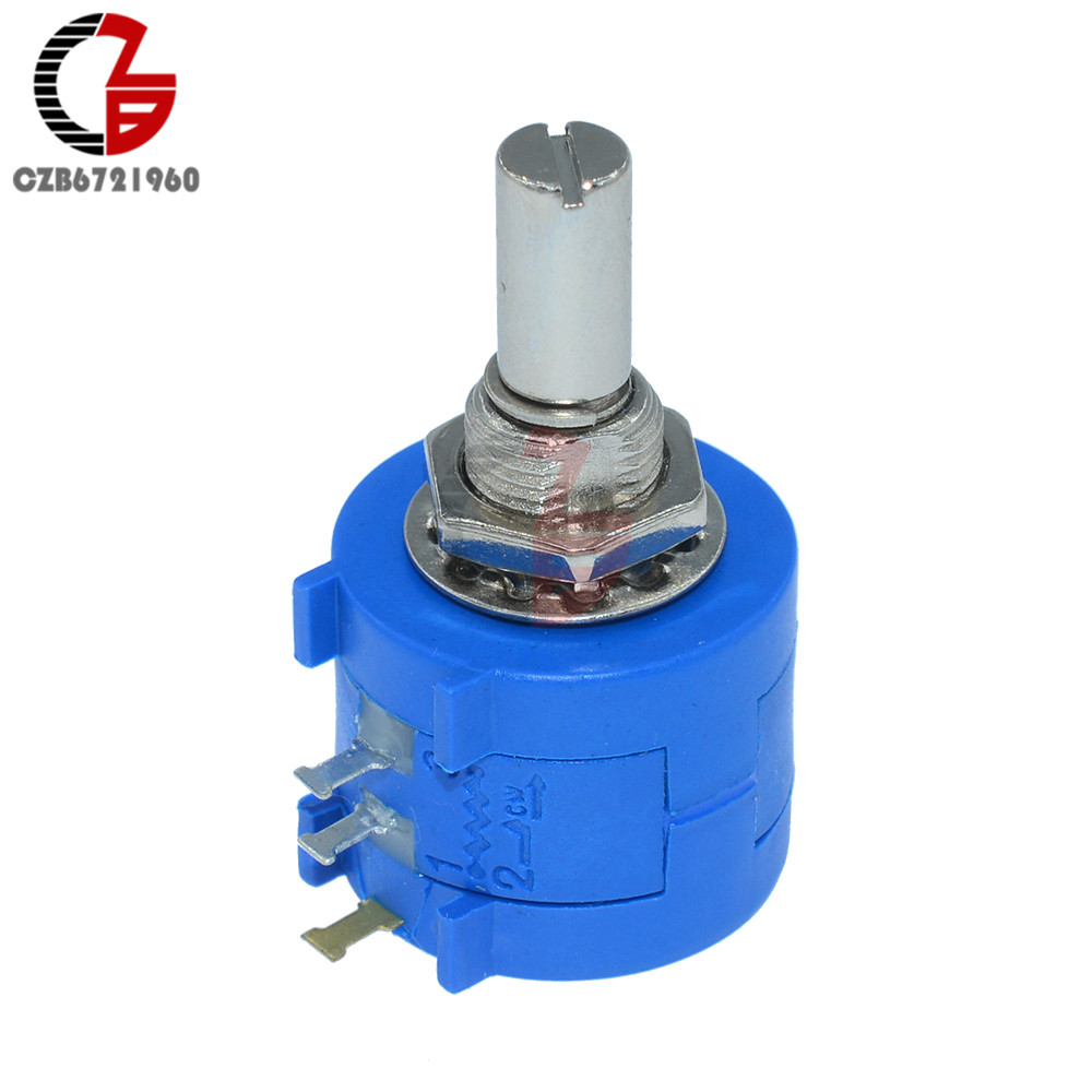 1K 2K 5K 10K 20K 50K 100K Ohm 3905S Rotary Wirewound Precision Potentiometer Switch Pot 10 Turns image