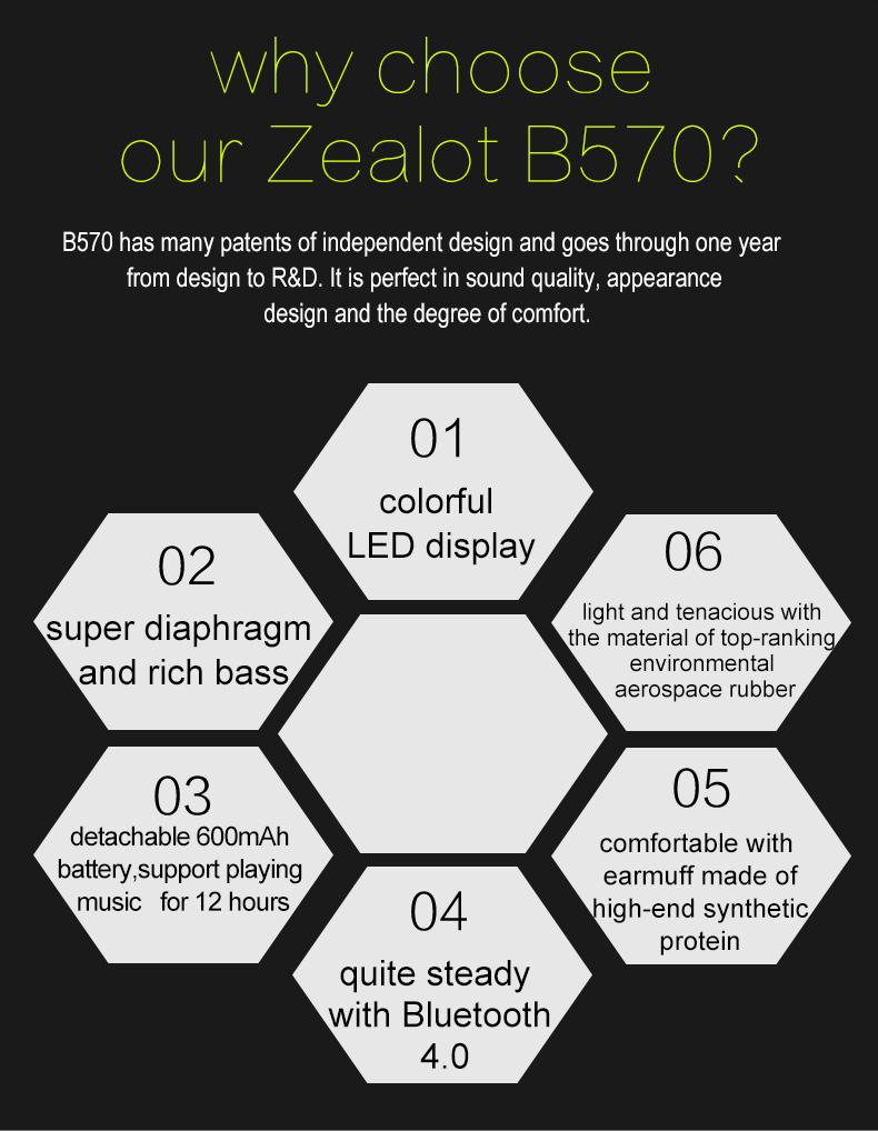 Zealot B570 Earphone Headphone with LCD Screen Bluetooth Headphone Foldable Hifi Stereo Wireless Headset FM Radio TF SD Slot 23