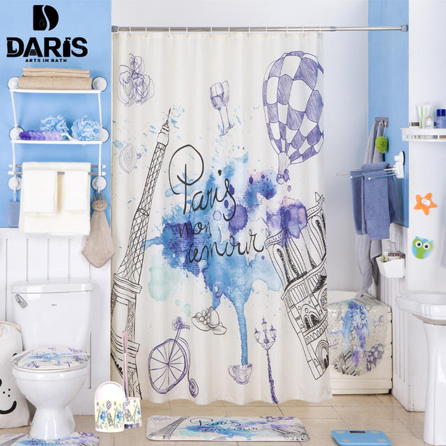 SDARISB Bathroom Shower Curtain 180x180cm Plastic Bathroom Set PVC ...