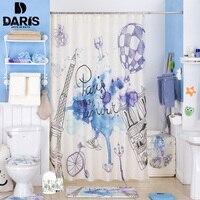 SDARISB Bathroom Shower Curtain 180x180cm Plastic Bathroom Set PVC Bath Mat Combination Favorable Set Bathroom Products