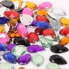 100pcs 8 13mm Sewing Flatback Rhinestones Horse Eye Acrylic Beads Sew On Strass  Crystal Stones b105ad6bc4ed