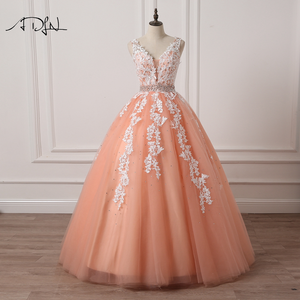 ADLN Coral Wedding Dresses 2019 High Quality Elegant V neck Tulle Lace Appliques Crystals and Beads