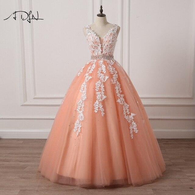 ADLN Coral Wedding Dresses 2019 High Quality Elegant V neck Tulle