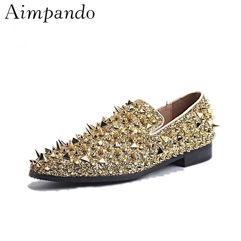 Pointu Or Rivet Plat Mocassins Concise Ronde Orteils Mince Bling Paillettes Or Mâle Chaussures Hommes Chaussures De Mariage