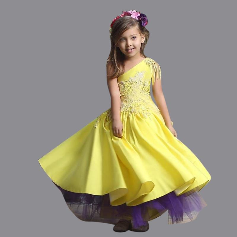 Flower yellow girl dresses cheap