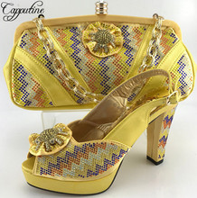 Capputine High Quality Women Shoes And Bags Set African Rhinestone High Heels Shoes And Bag Sets For Party Free Shippig ME6611