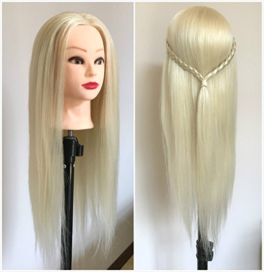 CAMMITEVER Professional 20 Inches Long Hair Hairdressing Equipment Styling Head Doll Mannequin Training Head Platinum Blonde