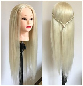 CAMMITEVER Professional 20 Inches Long Hair Hairdressing Equipment Styling Head Doll Mannequin Training Head (Platinum Blonde)