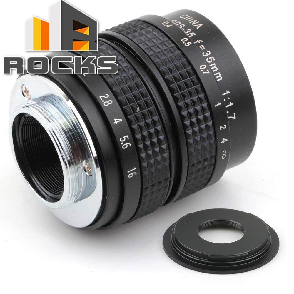 35mm f1.7 16mm C mount Lens + C to Micro M4/3 / NEX / N1 / Pentax Q  /Fuji / e.o.s M M2 Adapter For Panasonic Camera + Lens Cap