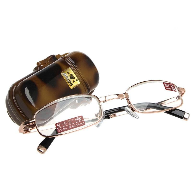 1 St Mini Opvouwbare Leesbril Metalen Full Frame Case Lenzenvloeistof 1.00 4.00-y107 100% Garantie
