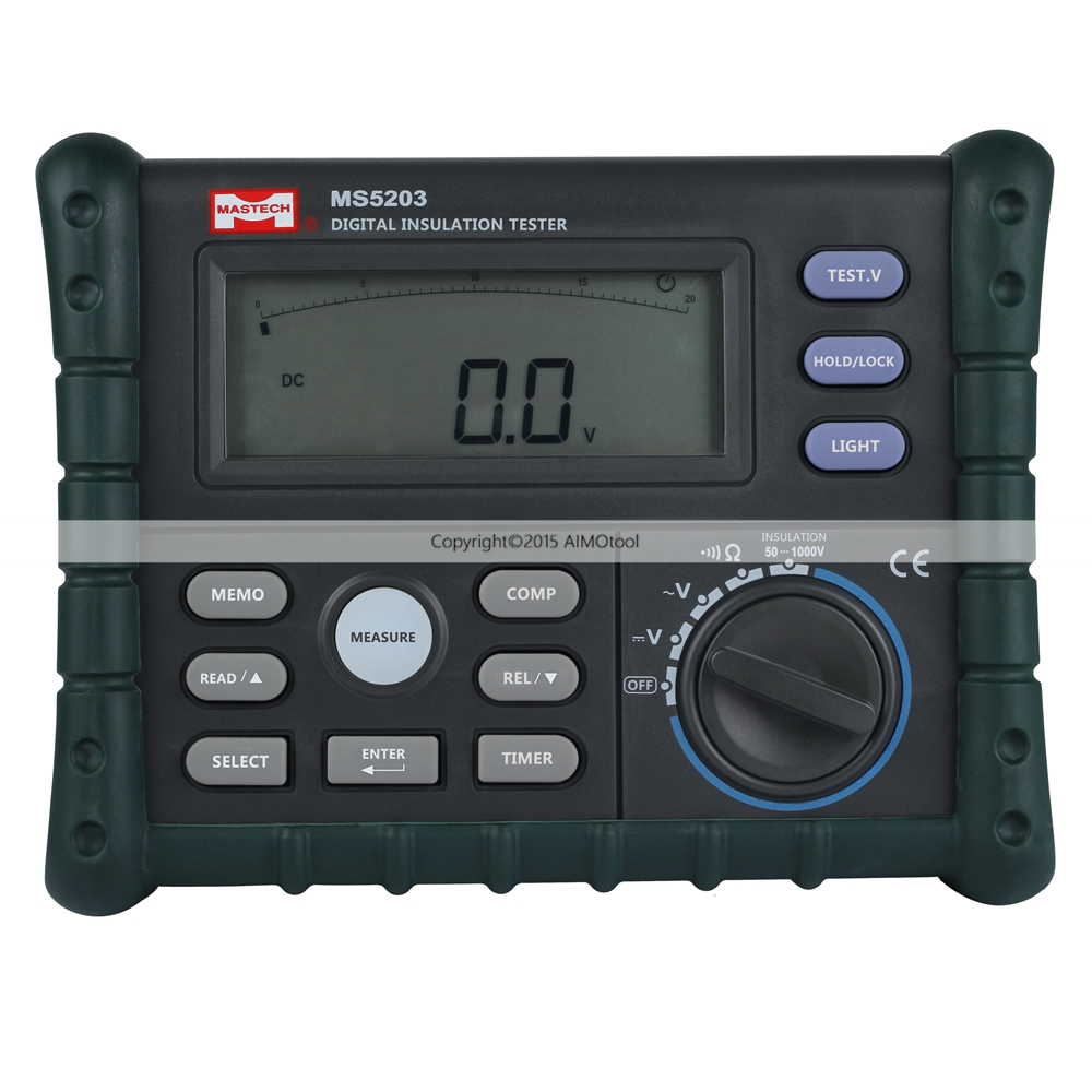 MASTECH MS5203 Digital Insulation Resistance Tester Multimeter Megger 0.01 Mohm to 10.00 Gohm HV meter 50V-1000V hyelec ms5203 digital megger 1000v insulation resistance tester meter dc ac voltage resistance insulation tester
