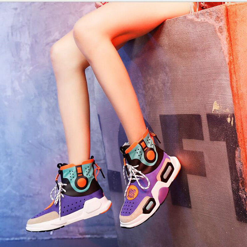 Brand Women Casual High Top patchwork lovers boots Shoes Ladies flats Platform wedges Walking Sneakers Shoes NN-7979 e lov women casual walking shoes graffiti aries horoscope canvas shoe low top flat oxford shoes for couples lovers