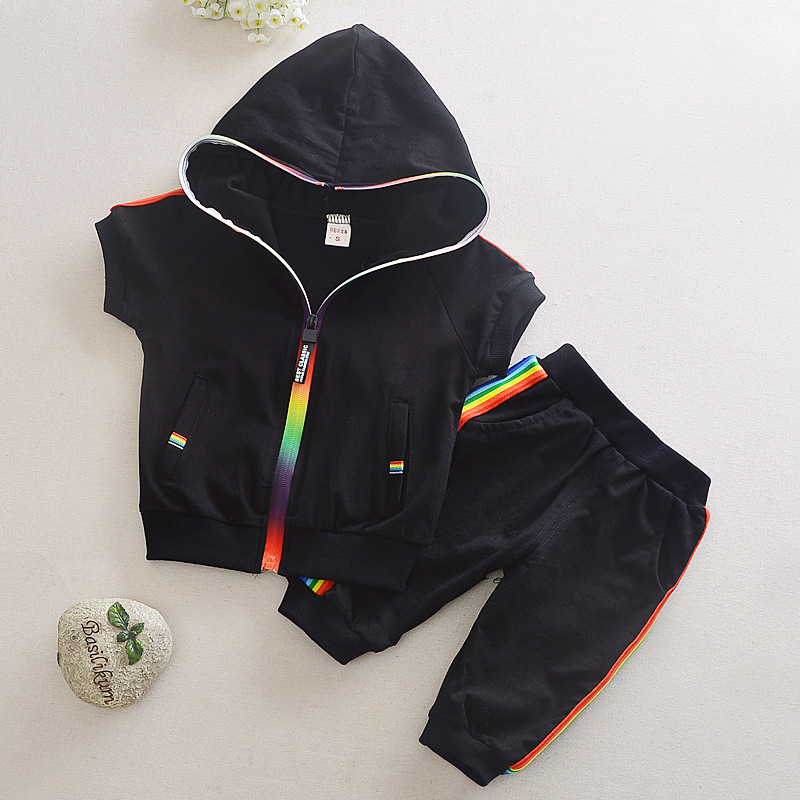 Kid Boy Girl Clothes Sportswear Summer Fashion Short Sleeve Colorful Zipper Hooded Clothing For Girls Children Outfit Set 4