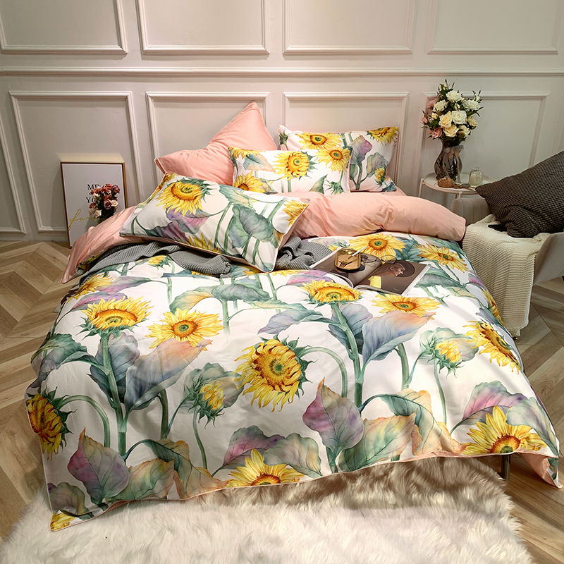 실키 이집트 면화 이불 커버 침대 시트 세트 킹 사이즈 퀸 해바라기 침구 세트 럭셔리 침대 장착 시트 세트 ropa de cama-에서침구 세트부터 홈 & 가든 의  그룹 1