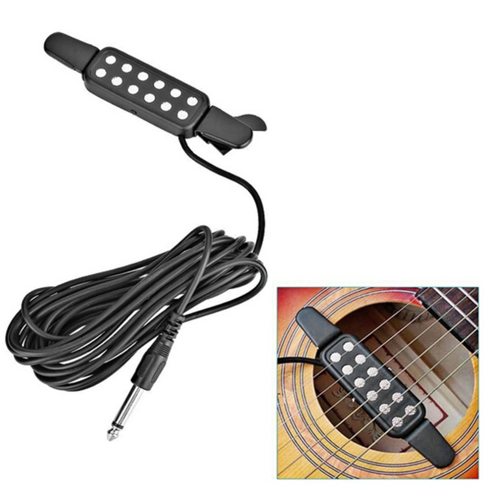 12 hole clip on sound pickup microphone wire amplifier speaker for acoustic electric guitar. Black Bedroom Furniture Sets. Home Design Ideas