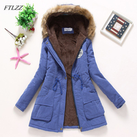 FTLZZ 2019 новые парки Женское зимнее пальто утепленная Хлопковая женская зимняя куртка Верхняя одежда парки для женщин