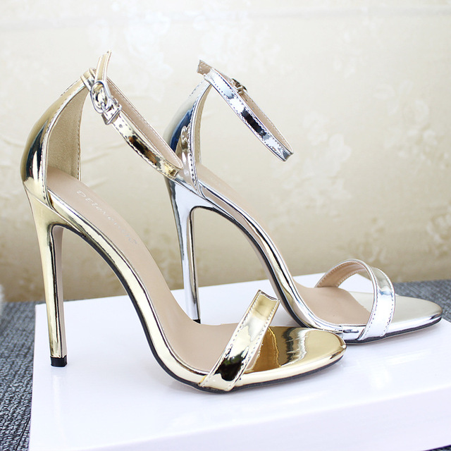 2018 women super high heel party sandals Simple wedding sexy fashion shoes  12 cm Pumps Thin Heel buckle strap gold silver female 08a893aad859