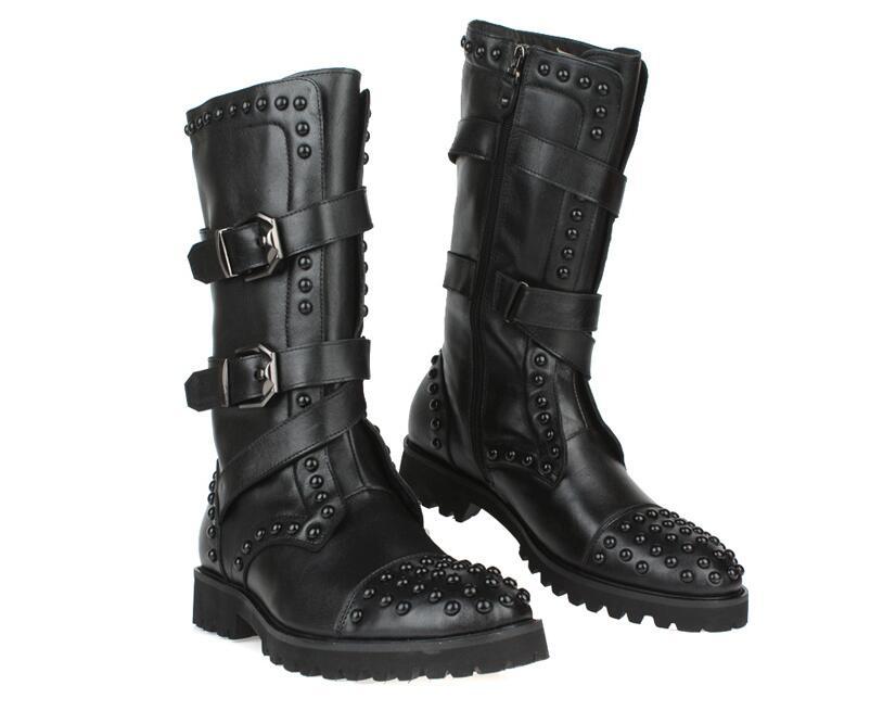 Pic Style Longues Mâle Cuir Livraison Personnalité Noir Plat Ronde Rivet En Hommes Bottes Angleterre As Chaussures Orteils Gratuite FTKJ13lc