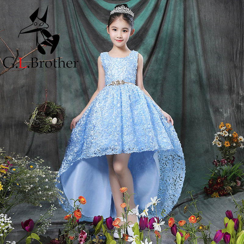 2-12 Years Luxury Flower Girl Dresses First Communion Dress For Girls Kids Prom Dress Ball Gown For Wedding Party Gown Trail A46 cielarko girls dress flower print pageant ball gown cotton kids wedding party dresses summer baby vintage frock for 2 8 years