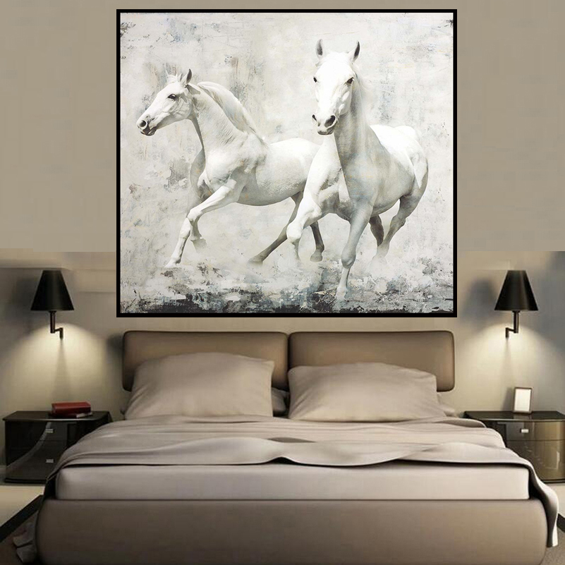 new designer white horse animal style wall art oil painting home decoration bedroom living room paintings - Wall Art Designer