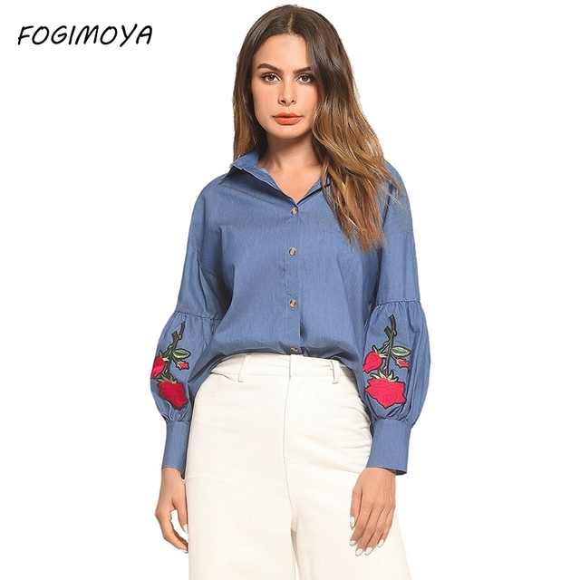 FOGIMOYA джинсы блузки Для женщин мода Джинсовая вышивка отложным воротником вырезом Топы Для женщин 2018 Flare рукавом Фирменное дикие Блузки