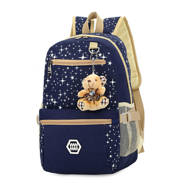 Sets Backpack Womens School Bag Book For Teenager Canvas Stars Prints Dot Cute Bear Pendent Fashion Satchel Mochila 2017