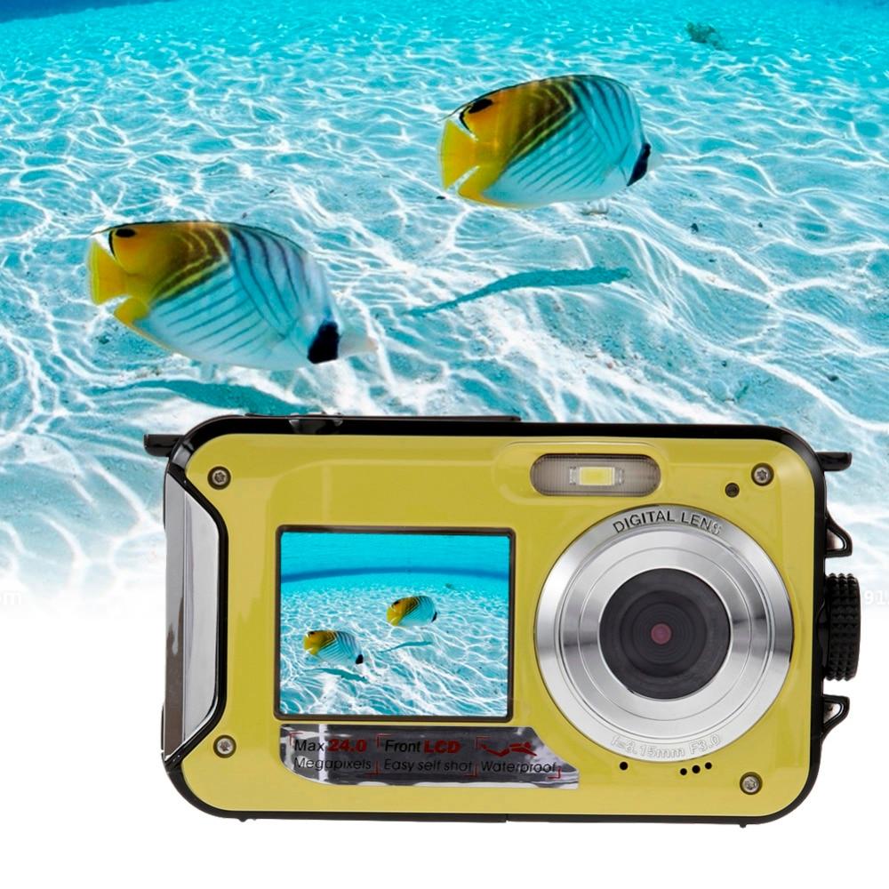 US Plug New Digital Camera Double Screen HD 24MP 1080P DV 16X Zoom Waterproof Digital Video Camera Underwater Sport Camcorders