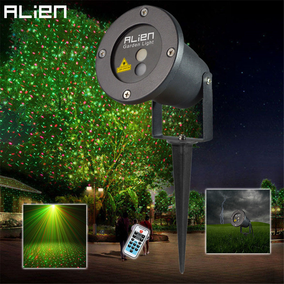 Remote control rg led laser light projector outdoor for Garden lights
