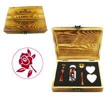 Роза растение цветок натуральный Винтаж Свадебные приглашения изображение на заказ логотип воск уплотнение штамп палочки ложка Подарочная коробка набор