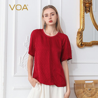 VOA Half Sleeve Silk T Shirt Women Pullover Ladies Tops Casual Tee Red Beige O Neck Simple Loose Clothing Basic Harajuku B688