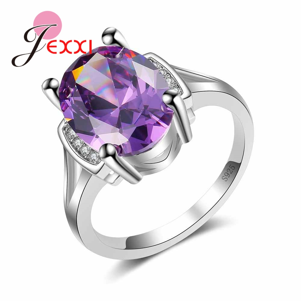 JEXXI Ture Love Noble Purple Crystal Ring for Femme Lovers Fine 925 Sterling Silver Brand Jewelry Oval Bague Wholesale