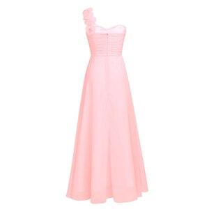 Image 5 - Femmes dames longue robe de demoiselle dhonneur en mousseline de soie une épaule plissée dentelle taille haute étage longueur robe de mariage fête robe de bal