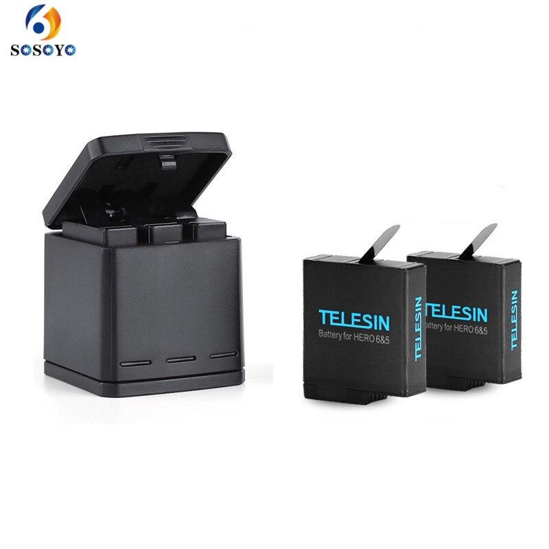 1 pcs 3-façon Batterie Chargeur De Charge boîte De Rangement + 2 pcs 1220 mah AHDBT-501 Batteries Pour GoPro Hero 5 7 noir Hero 6 Accessoires