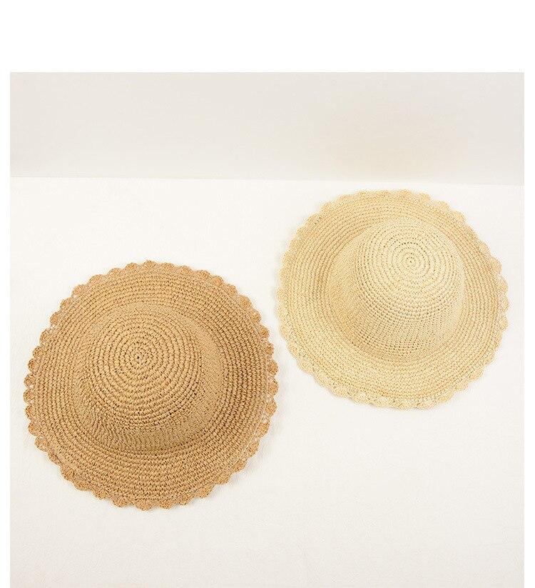 2018 Nouveau style d'été de femmes de paille chapeau de soleil dossier plage chapeau