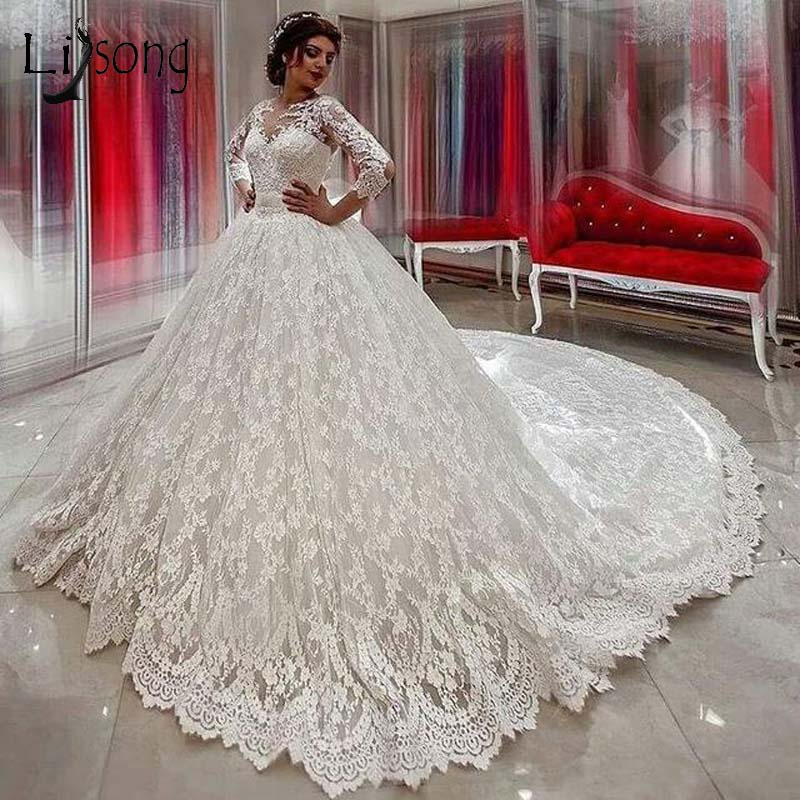 Vinatge Luxury Lace Wedding Dresses 2019 Full Sleeves Big