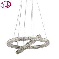 Free Shipping Modern Crystal Light Chandelier For Dining Room Oval Design LED Down Light Double Ring