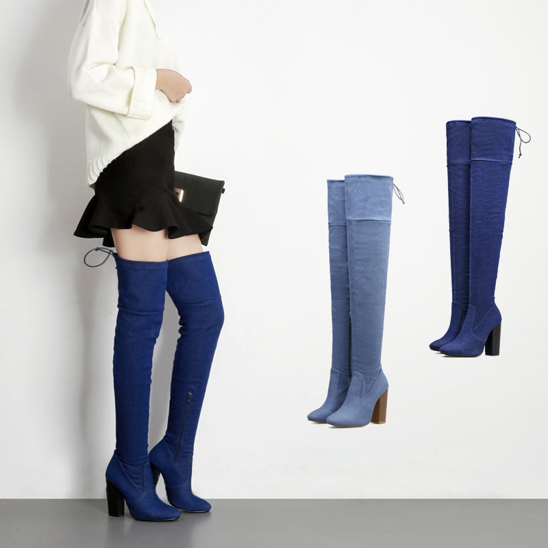Winter Boots cowboy Women High-Heeled Shoes Sexy Zipper Knee High over the knee Boots shoes woman 2017 Blue Jeans Cool Appliques avvvxbw 2016 brand women boots winter over the knee boots shoes woman sexy high heeled thigh high boots botas femininas c323