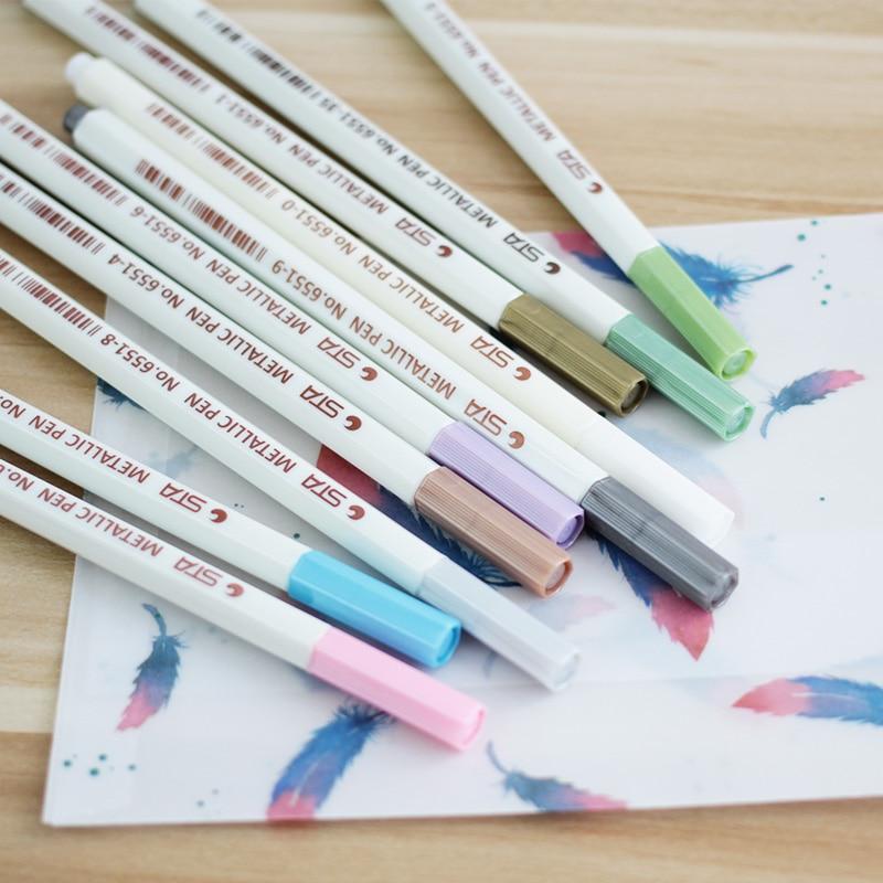 10 Farben/Set Metallischen Marker Stift DIY Scrapbooking Handwerk ...