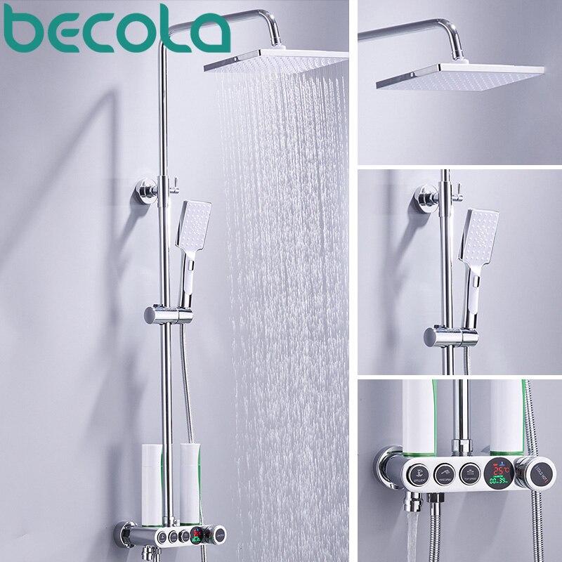 BECOLA LCD LED affichage numérique ensemble de douche robinet de douche mural de haute qualité salle de bains kit de douche robinets B-SX018