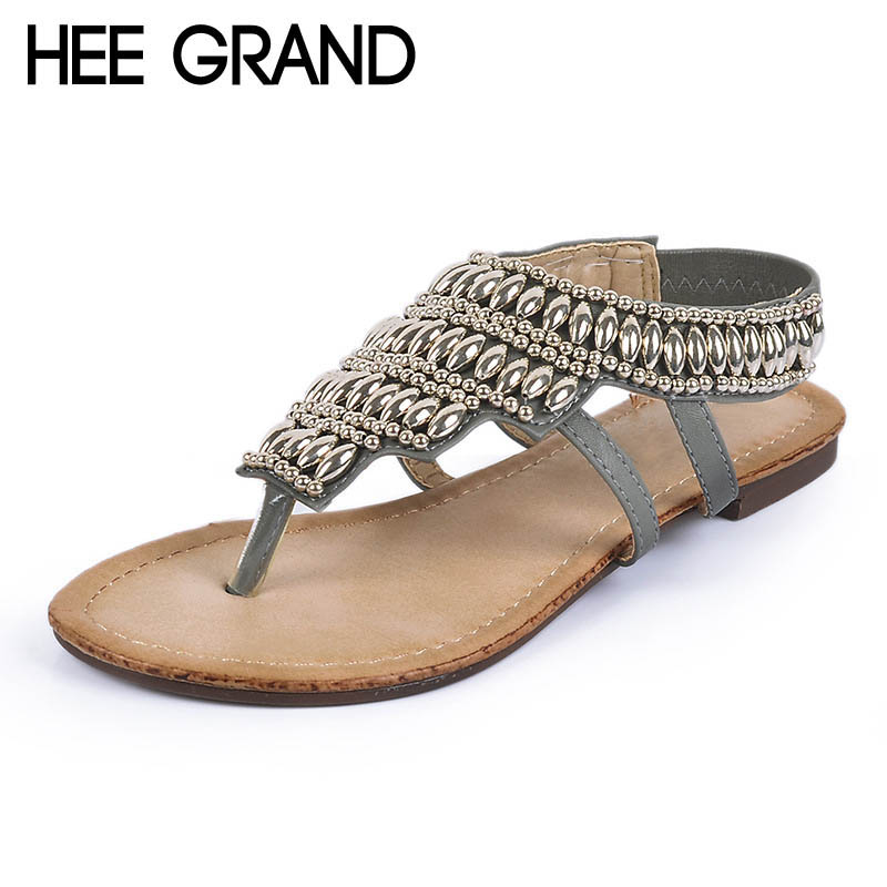 HEE GRAND Bohemia Gladiator Sandals 2017 Summer Style Flip Flops Vinatge Rhinestone Shoes Woman Slip On Flats Size 35-40 XWZ2166 hee grand 2017 new gladiator sandals gold silver shoes woman summer flip flops slip on creepers casual women shoes xwz3847
