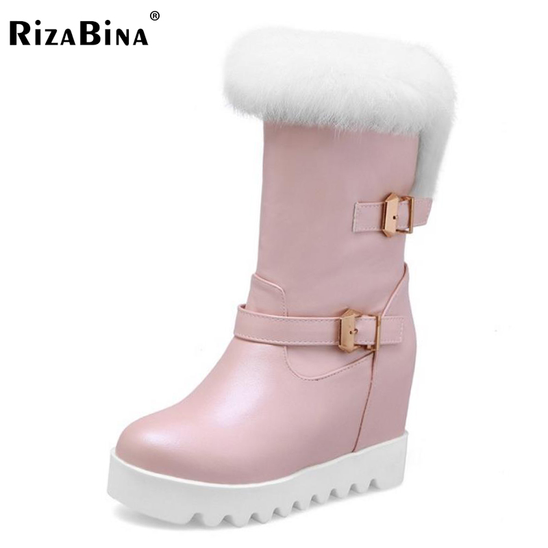 RizaBina Size 34-43 Women Mid Calf Wedges Boots Thick Fur Height Increasing Metal Short Boots Winter Snow Shoes Woman Footwears double buckle cross straps mid calf boots
