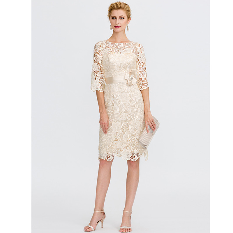 746a2af6d9 LAN TING BRIDE Sheath   Column Illusion Neckline Knee Length All Over Lace  Mother of the Bride Dress with Bow(s) free shipping worldwide