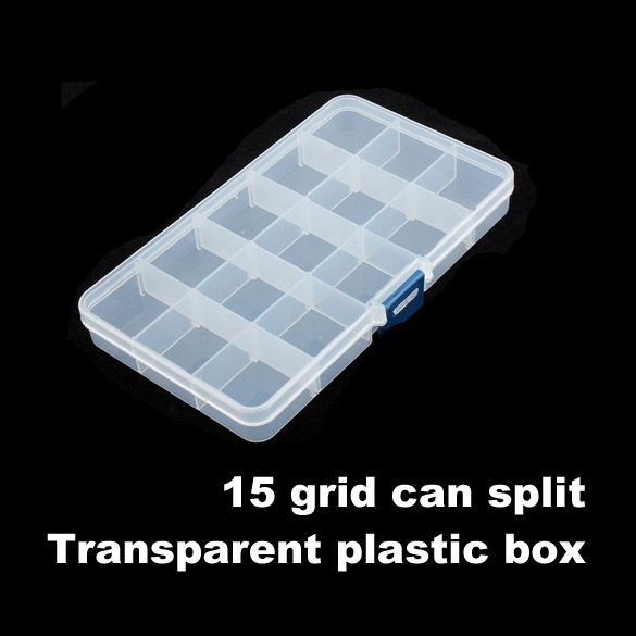 15 Grid Compartments Plastic Transparent Jewel Bead Case Cover Box Storage Container Organizer