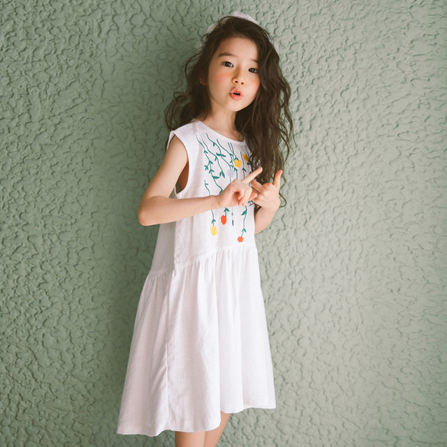 2e73354add4 2018 Summer Princess Dress for Teenagers Junior Girls Cotton Embroidery  Floral Little Girls Dresses 9 4 5 6 8 10 12 11 14 Years
