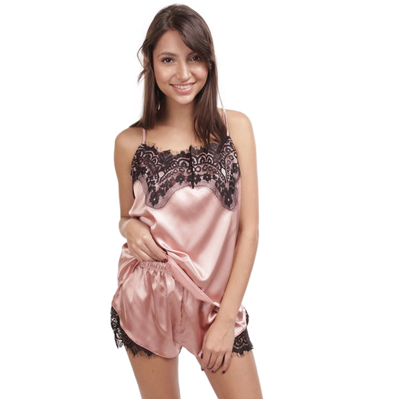 Satin   Pajama     Set   Black Lace Pyjamas Sleeveless Sleepwear Cute Cami Top and Shorts Criss-Cross Nightwear