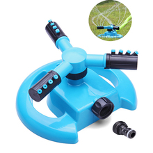 Garden Sprinkler Automatic Irrigation Watering Lawn 360 Degree Circle Rotating Water 3 Nozzles Arms Hose Pipe Connect