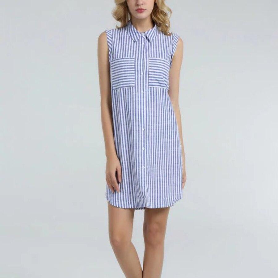 Office women striped dress 2016 summer casual style loose for Sleeveless dress shirt womens